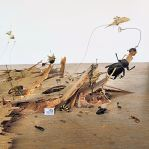 Insects, Pins, Strings, Wood Table. 2010