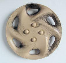 David's Toyota Delight, Pig's hair on leather, mix media, diameter42x7cm, 2009